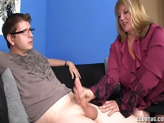 Fat blonde blows cock and gets cumshot