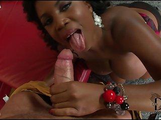 Ebony suck big sloppy white cock