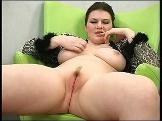 Sexy chubby brunette Jessica is masturbating