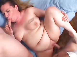 Fat cocksucker fucked in her wet pussy