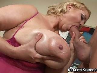 Huge tits BBW sucks and fucks lustily