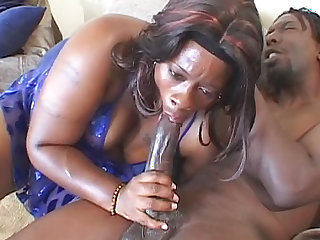 Black BBW plowed by big black cock