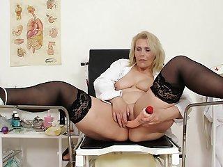 Toy cock masturbation along mature Yvonne