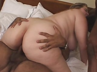 Fat babe gets ravaged in threesome